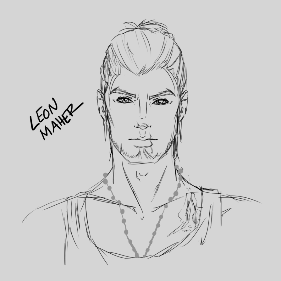 Drawing js sketch. Leon by paintedabyss on