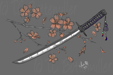 Drawing katana cherry blossom. Tattoo google pinterest tattos