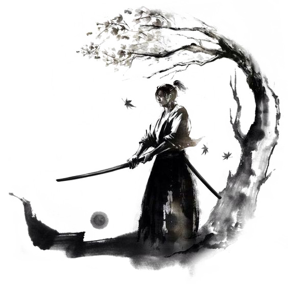 Drawing goats ink. Japan samurai bushido warrior