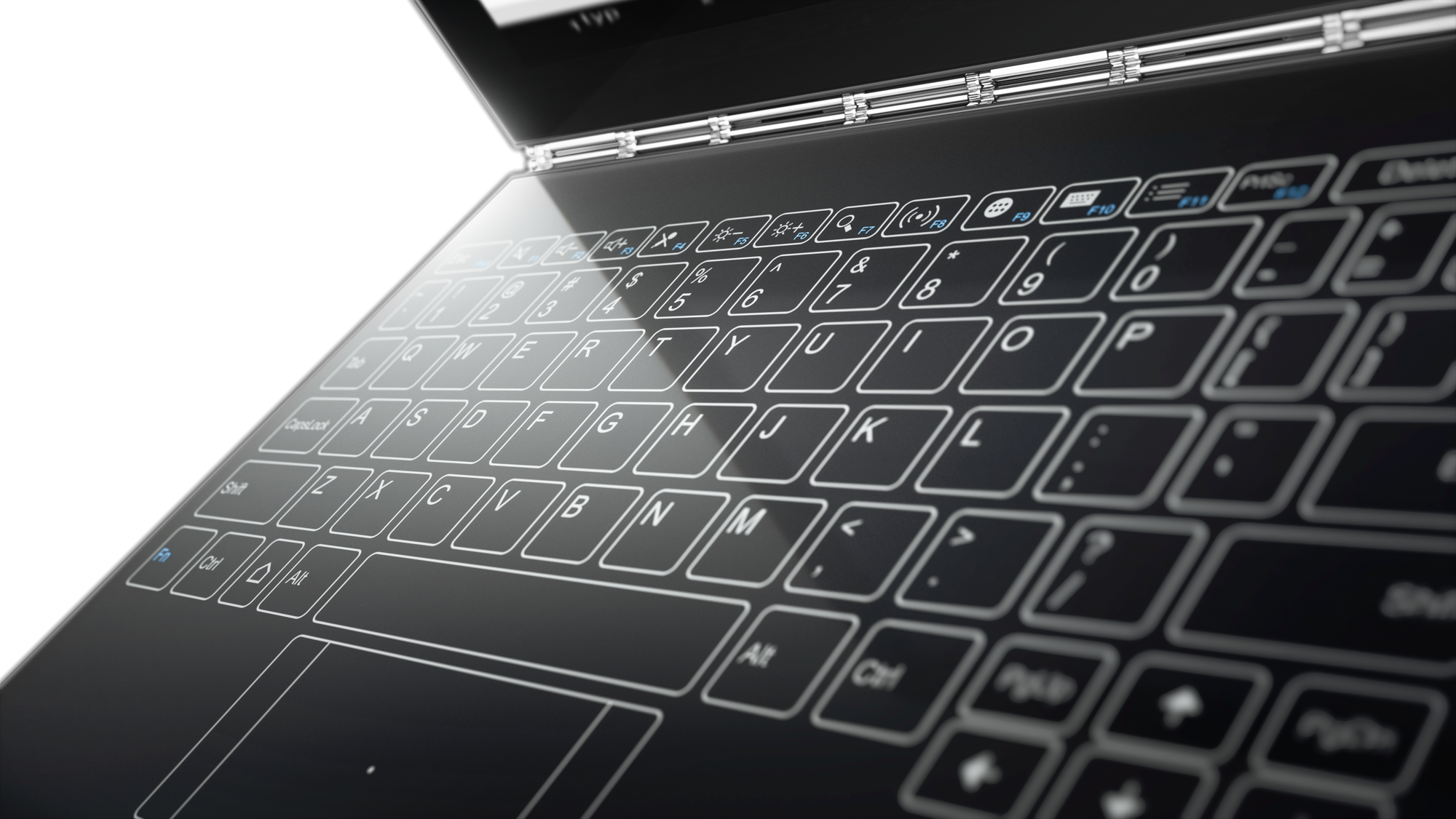 Drawing keyboard laptop. Lenovo yoga book features