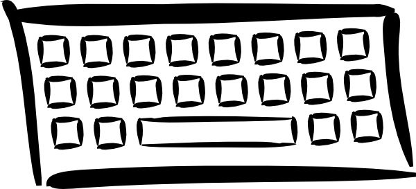 Drawing keyboard cartoon. Minimalist clip art at