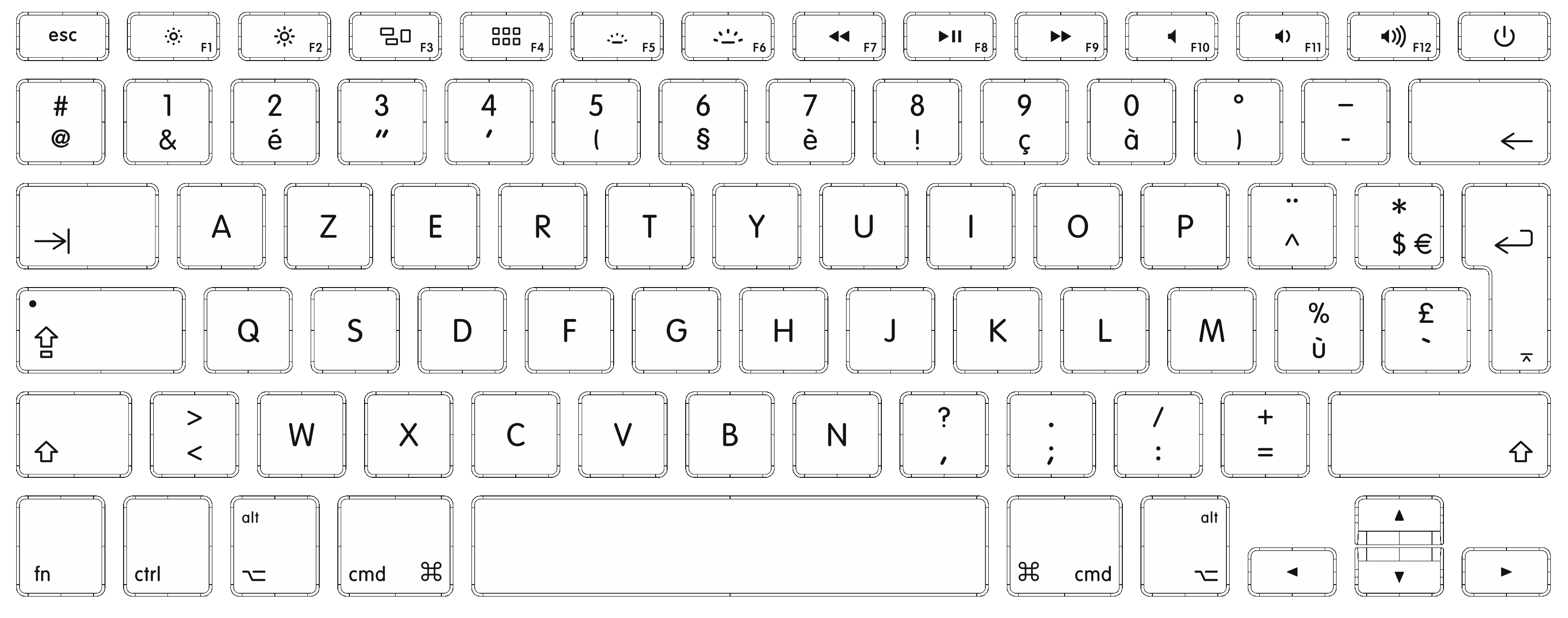 Drawing keyboard comp. White background images all
