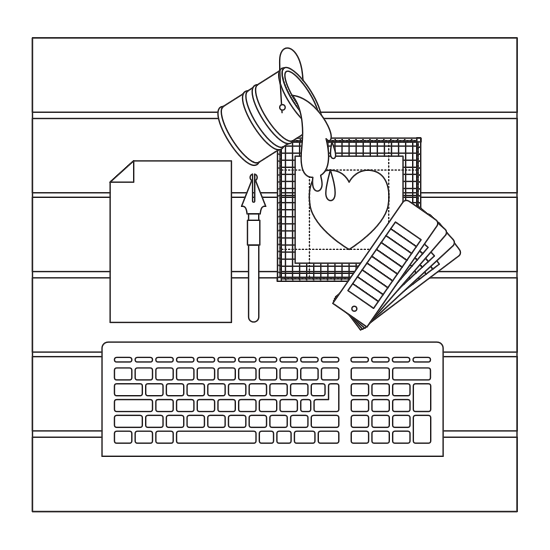 Drawing keyboard computer. And tools icons by