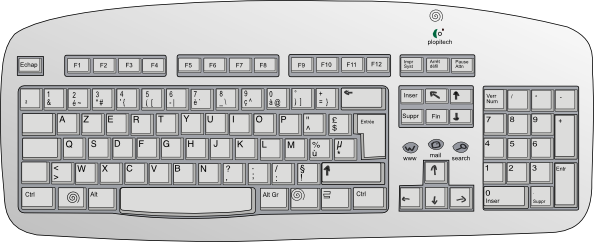 Drawing keyboard kid. Collection of computer
