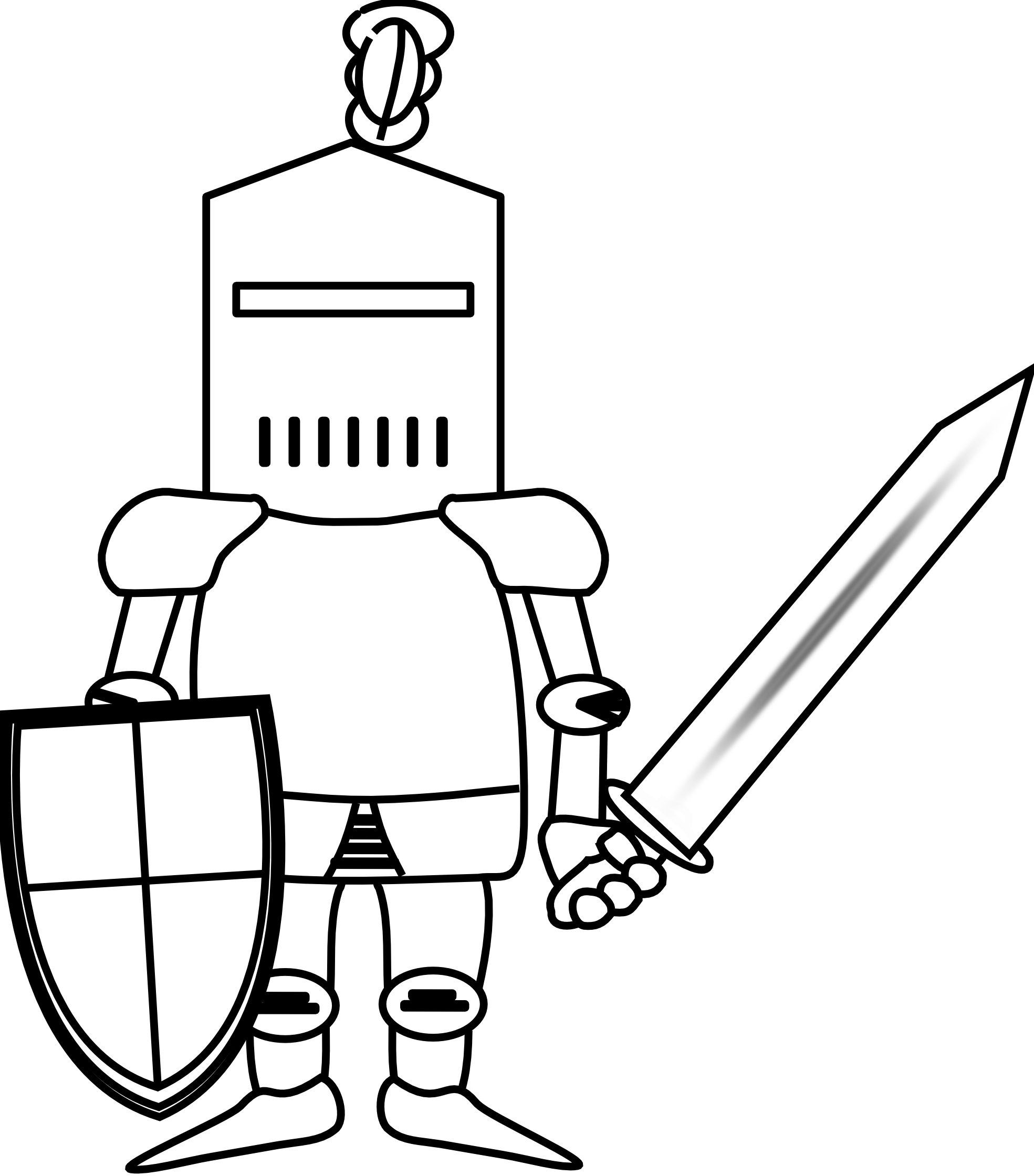 Drawing knight outline. Collection of high