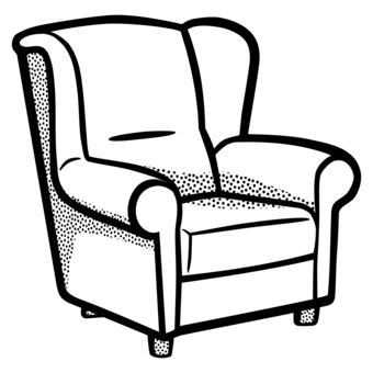 Armchair drawing black and white. Bedroom furniture living room