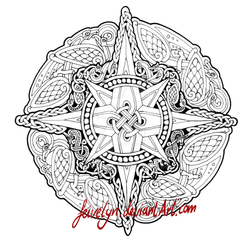 Ouroboros drawing knotwork. Windrose by feivelyn on
