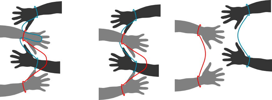 Drawing knots handcuff. Handcuffed exercise solution and