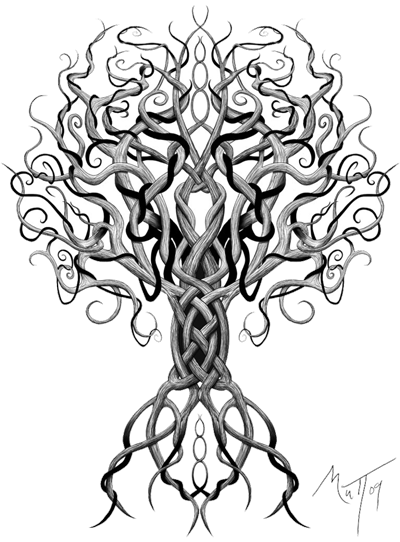 Drawing knots tree. Celtic tattoos for women