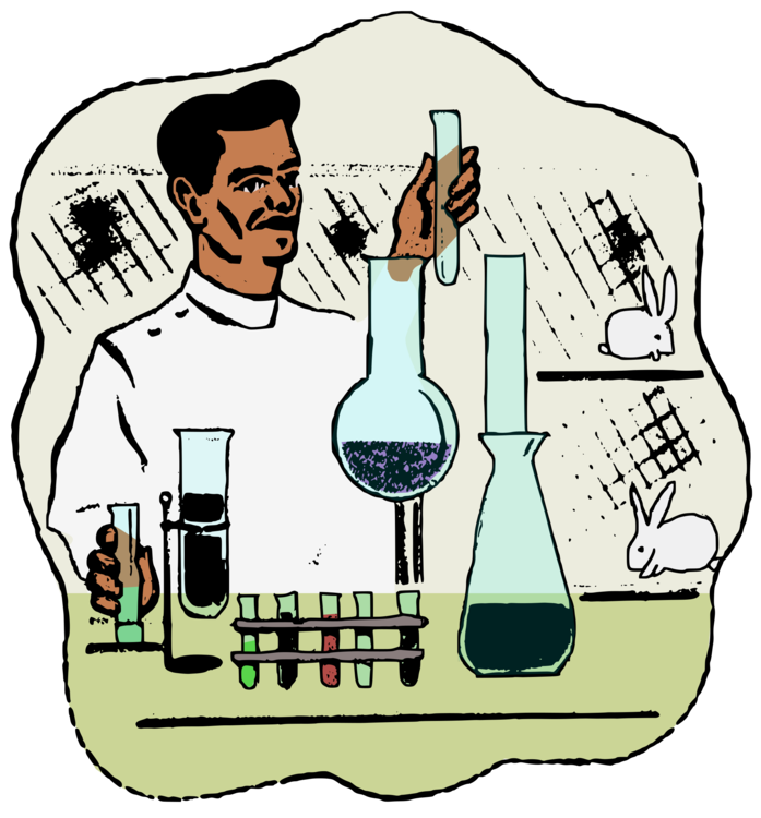 Drawing laboratory scientist lab. Experiment animal free commercial