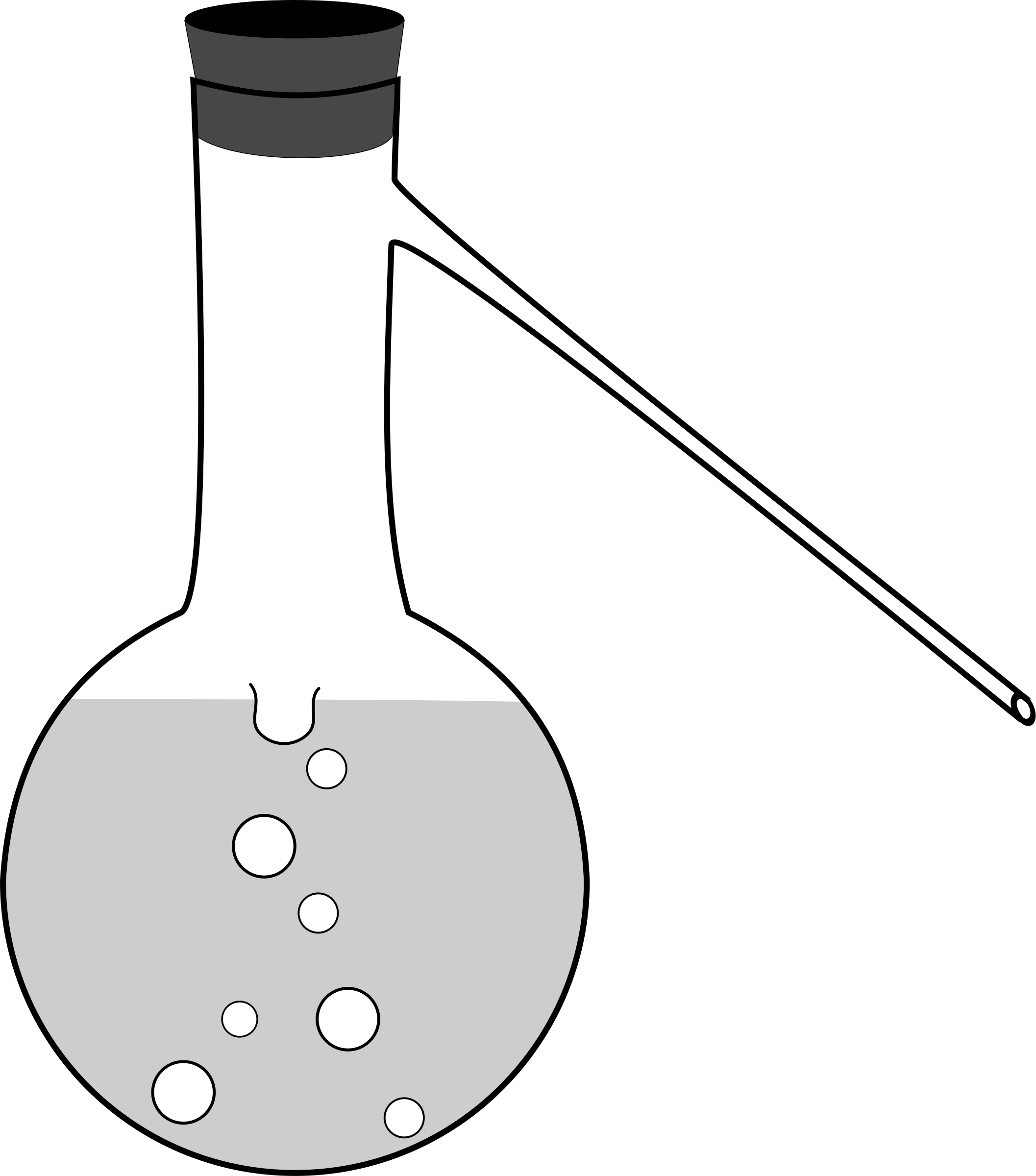 Flask drawing line. Clipart distilling with sidearm