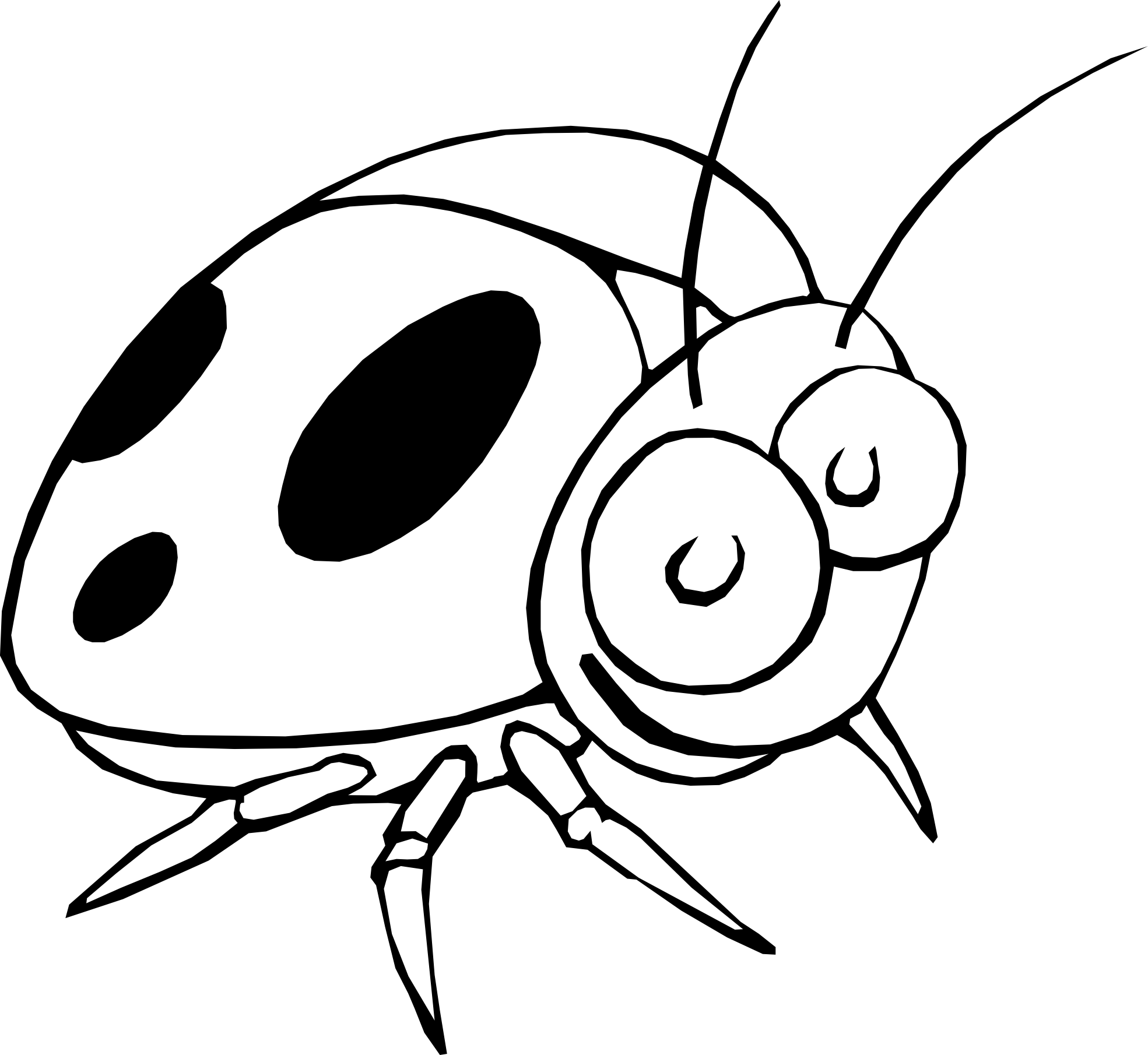 Vector ant black and white. Ladybug drawing pictures at
