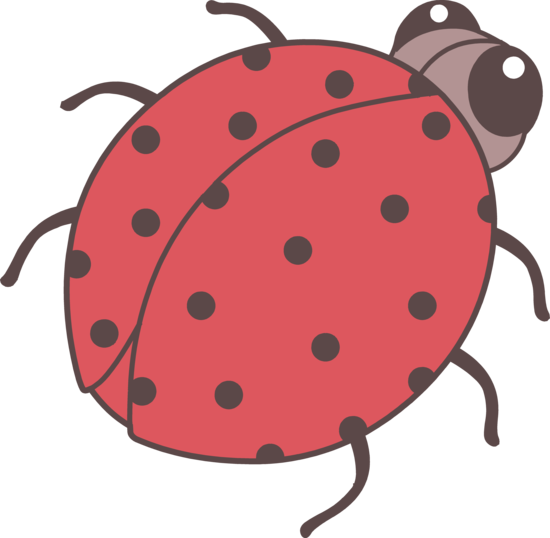 Drawing ladybug lady beetle. Cute red clip art
