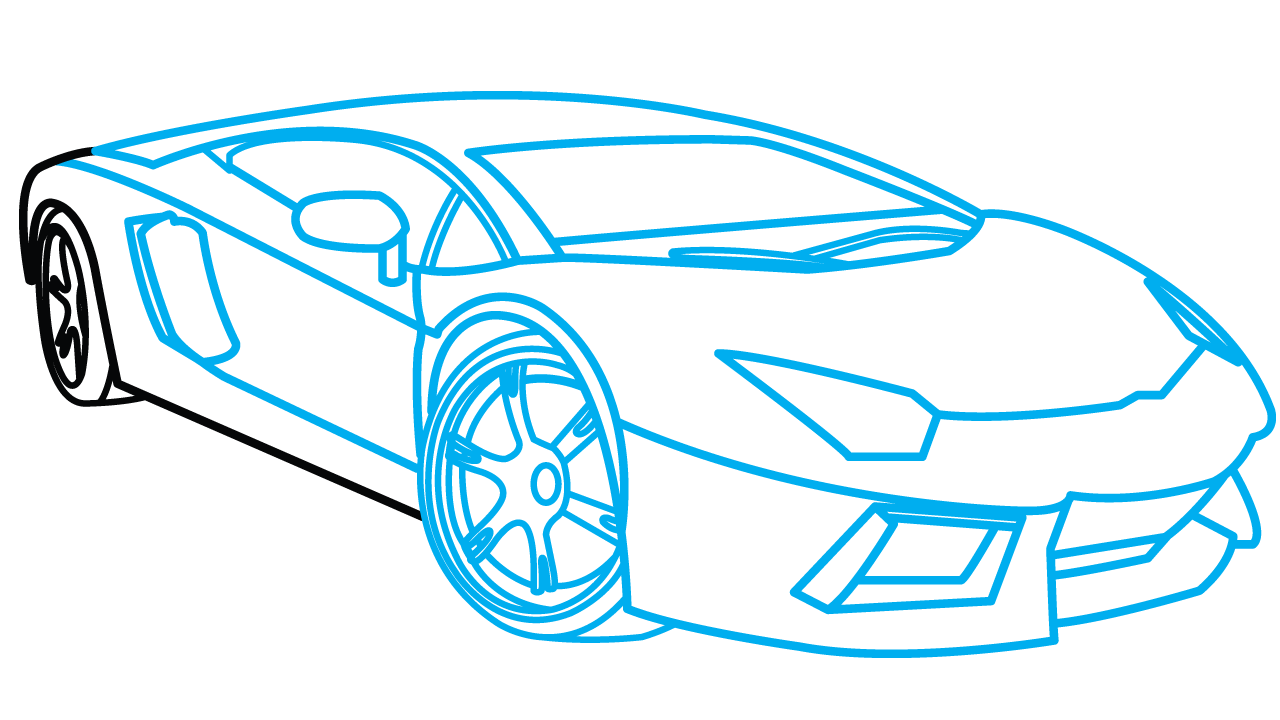 Drawing lamborghini. How to draw aventador