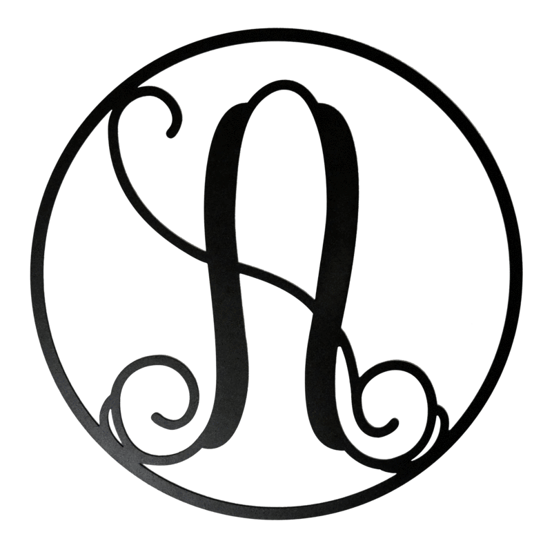 Drawing letter monogram. Letters circle initial a