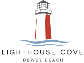 Drawing lighthouse construction. Cove redevelopment news logo