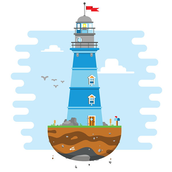 Drawing lighthouse illustrator. Momentum illustrations on behance