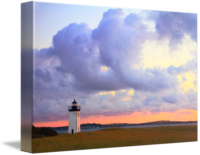 Drawing lighthouse landscape. Dawn at long point