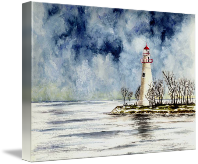Drawing lighthouse landscape. Marblehead winter scene by