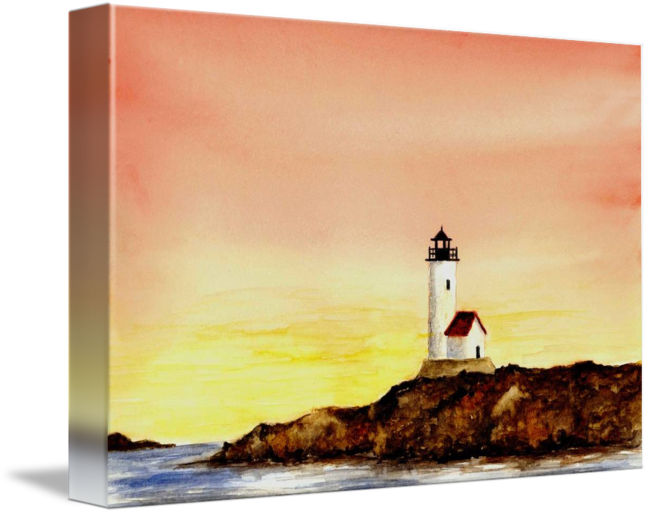 Drawing lighthouse landscape. Annisquam summer scene by