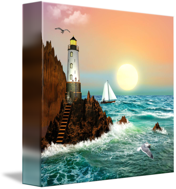 Drawing lighthouses pastel. The lighthouse painting art