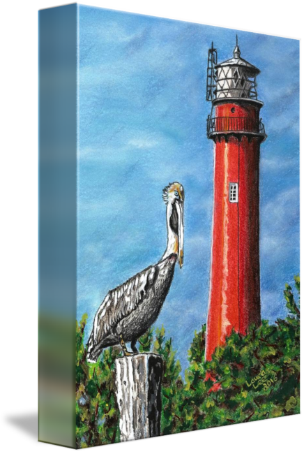 Drawing lighthouse pastel. Jupiter inlet by laura