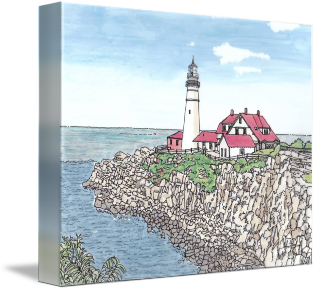Drawing lighthouse pen ink. Portland me headlight by