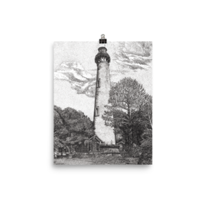 Drawing lighthouse pen ink. Wall art tagged currituck