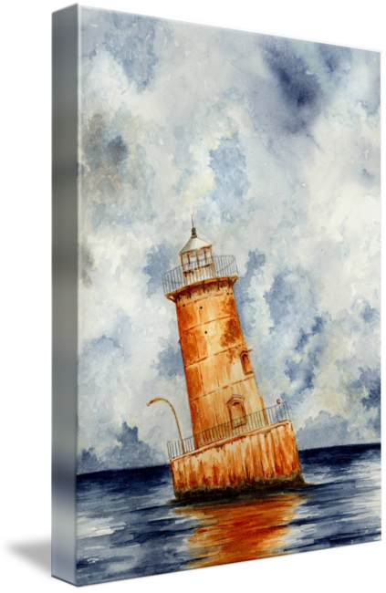 Drawing lighthouse pen ink. Sharps island maryland by