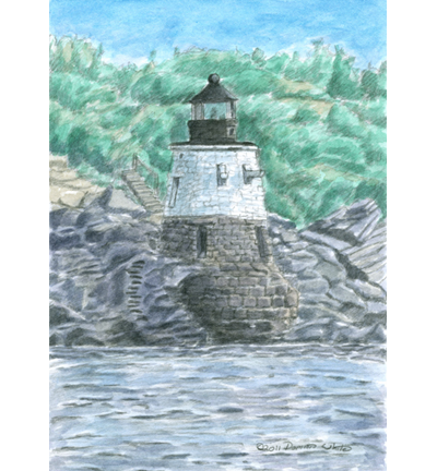 Drawing lighthouse pencil. Castle hill near newport