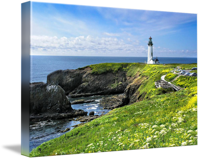 Drawing lighthouse scenery. Yaquina head in spring