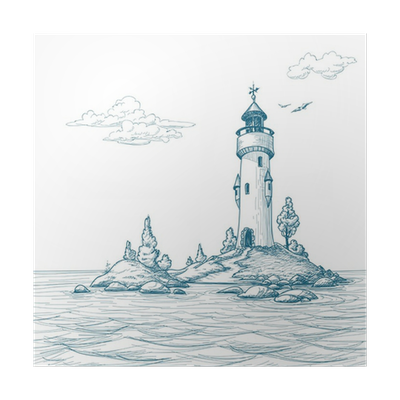 Drawing lighthouses sea. Lighthouse island in the