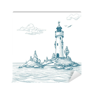 Drawing lighthouse sea. Island in the wall