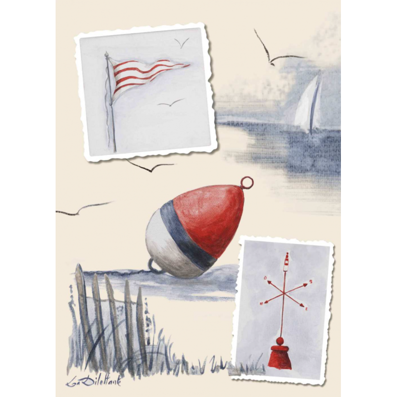 Drawing lighthouse sea. Seaside style cotton tea