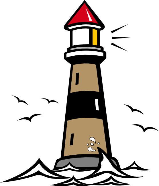 Drawing lighthouse shining. Clip art with light