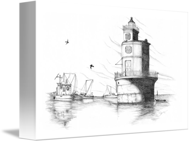 Drawing lighthouse sketch. And boats by shane