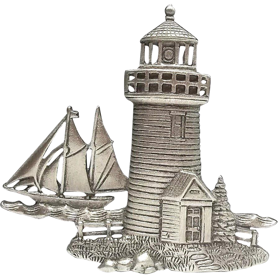 Drawing lighthouse sketch. Sailboat vintage jj pin