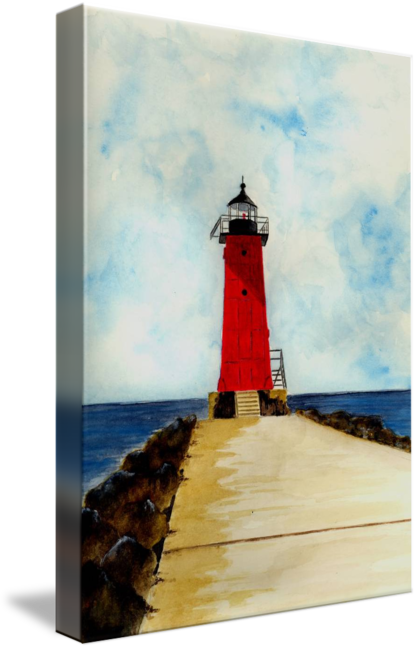 Drawing lighthouses charcoal. Manistique breakwater lighthouse by