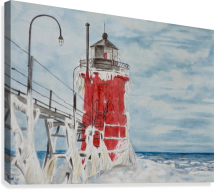 Drawing lighthouse watercolor. South haven michigan regan