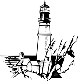 Drawing lighthouses beacon. Sales maritime simmental association