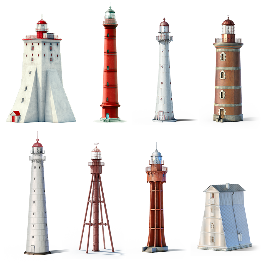 Drawing lighthouses beacon. Brush lighthouse project transprent