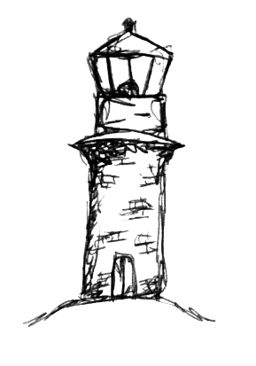 Drawing lighthouses doodle. Biro dream discover design