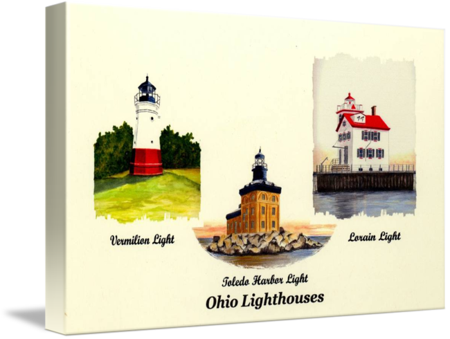 Drawing lighthouses harbor. Ohio by michael
