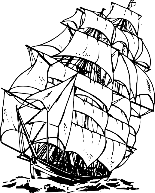 Schooner drawing treasure island. Free image on pixabay