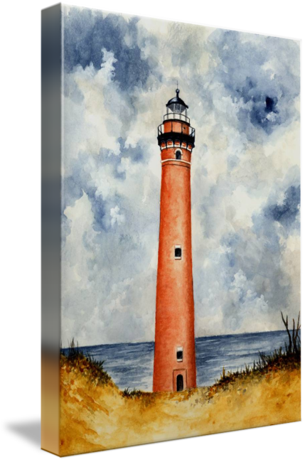 Drawing lighthouses sky. Little sable point lighthouse