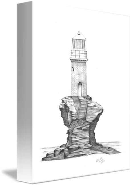 Drawing lighthouses small. Tourilis lighthouse greece by