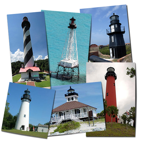Drawing lighthouses striped lighthouse. Florida map