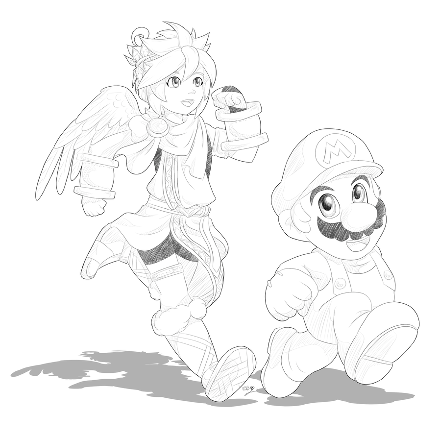 Drawing link deviantart. Day pit and mario