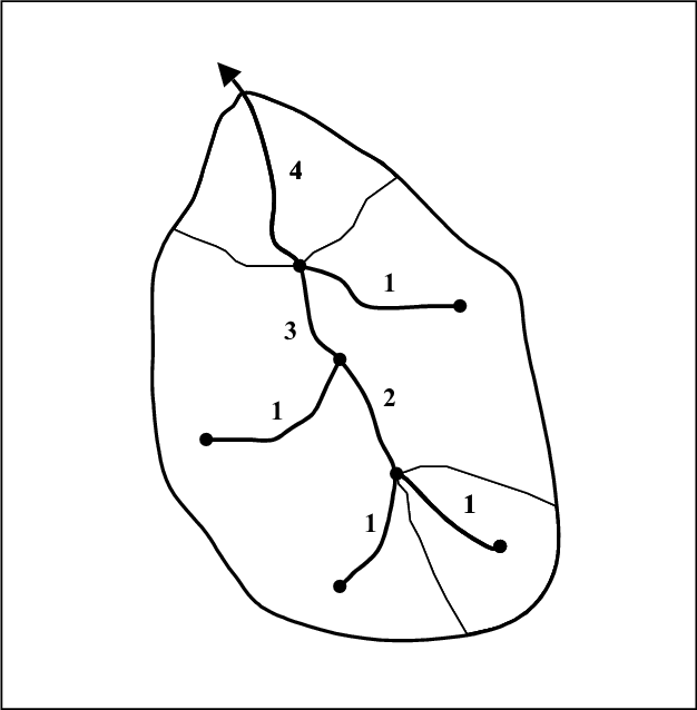 Drawing rivers simple. A river network showing