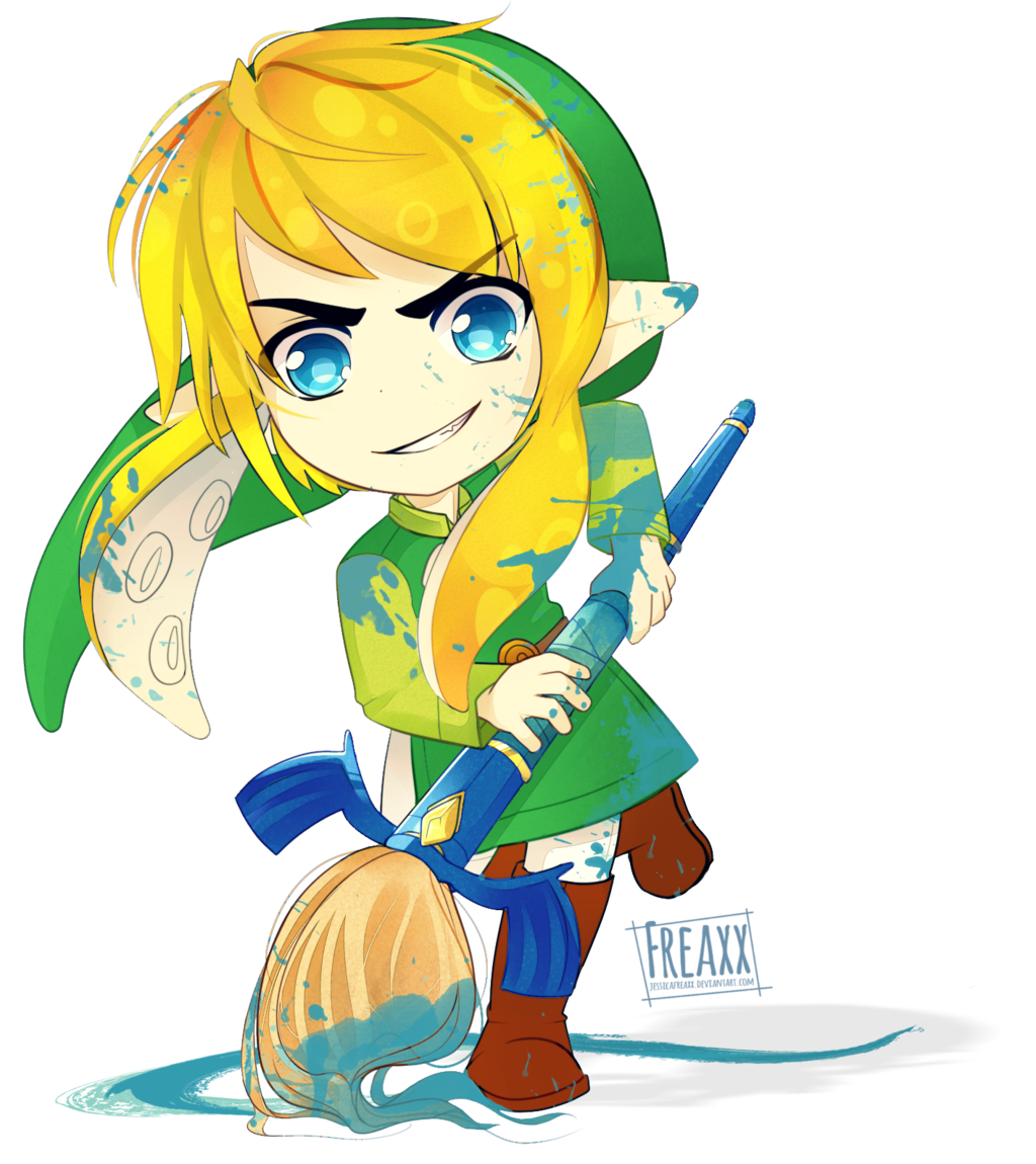 Drawing link video game character. The legend of splatoon
